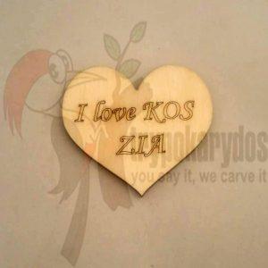 """I LOVE KOS"" Ξύλινη Καρδιά (Κωδ. 00365)"