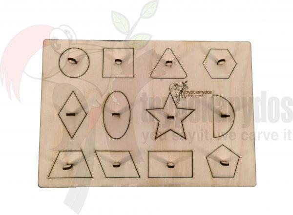 Παζλ με Σφηνώματα Γεωμετρικά Σχήματα μέθοδος Montessori (Μοντεσσόρι) (Κωδ. 00851)